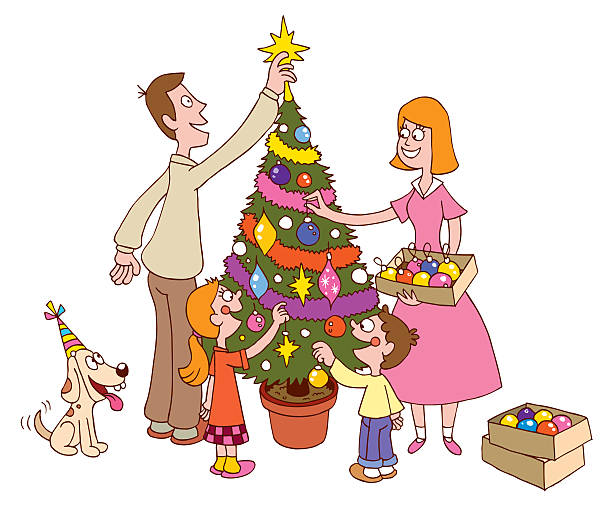 Family Decorating Christmas Tree Clipart.