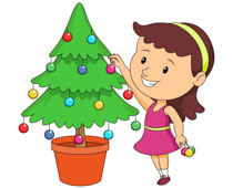 Girl decorating christmas tree clipart » Clipart Station.