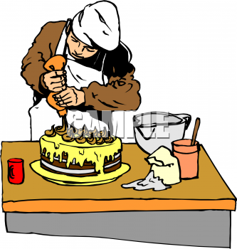 Clip Art Picture Of A Chef Decorating A Chocolate Layer Cake.