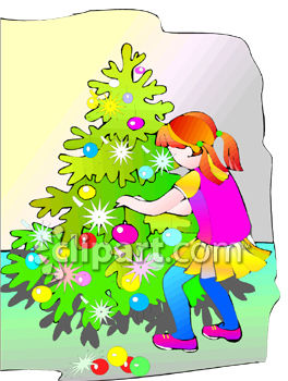 Little Girl Decorating A Christmas Tree.