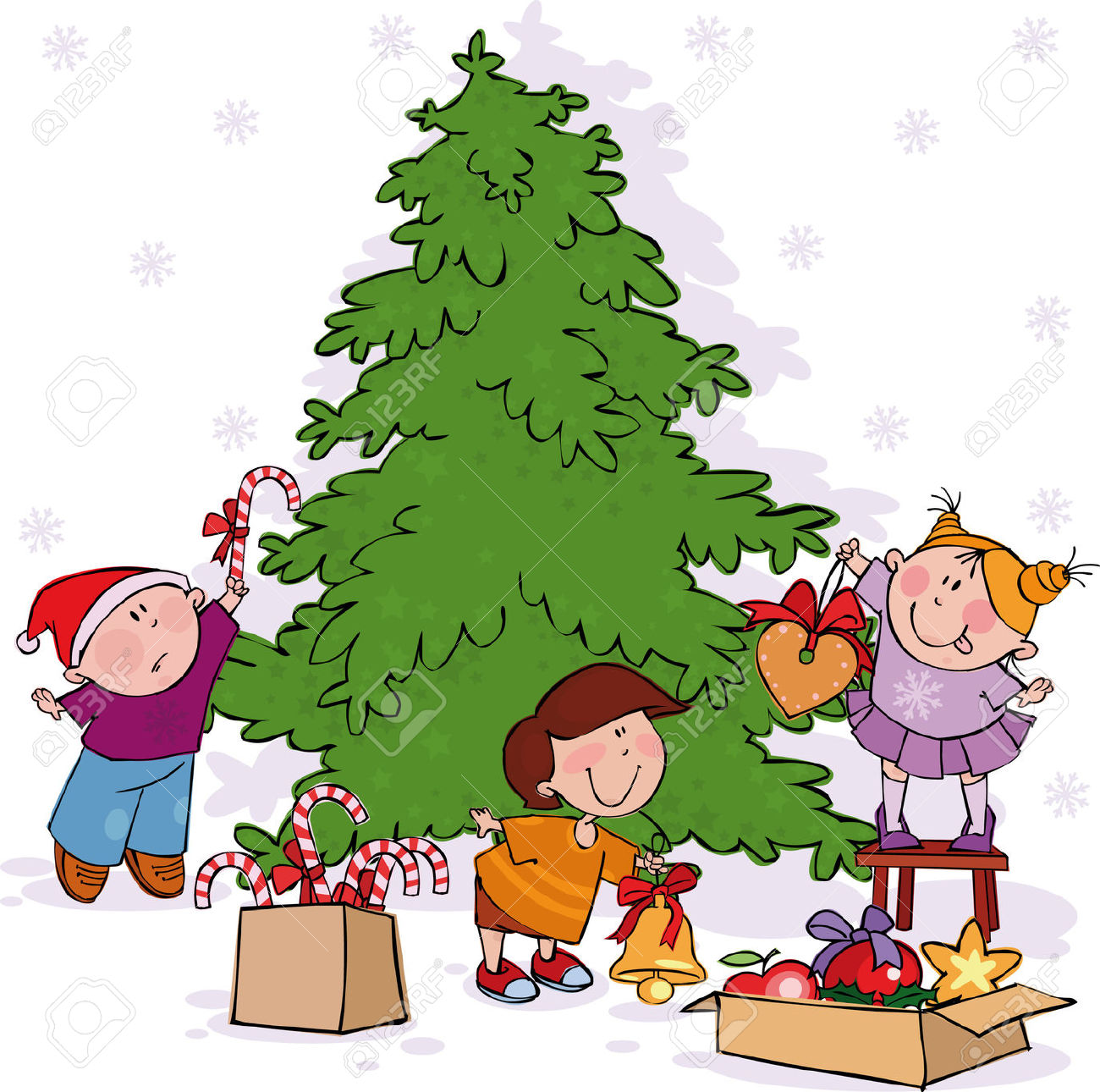 Christmas decorations for kids clipart.