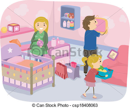 Clip Art Vector of Family Nursery Decoration.
