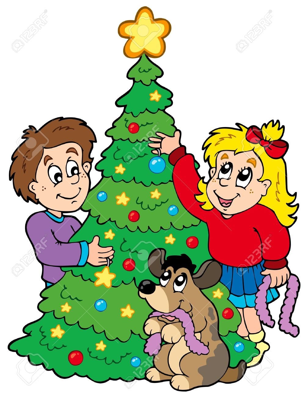 Christmas decorate the tree clipart.