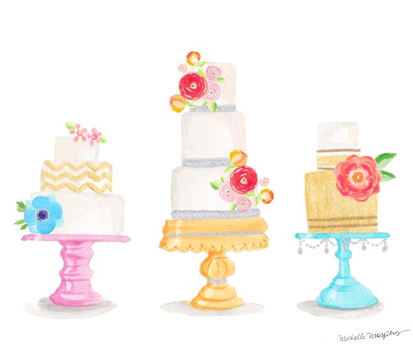 Watercolor decorative cakes  cool idea with a little.