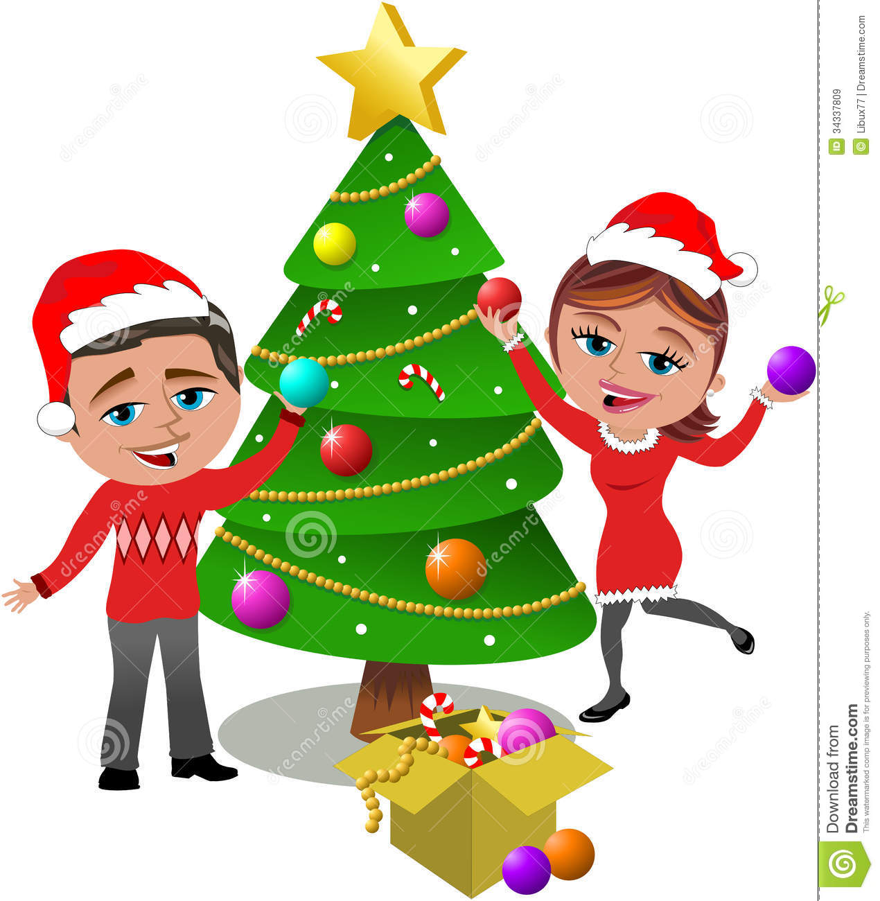 Clipart Family Decorating Christmas Tree.