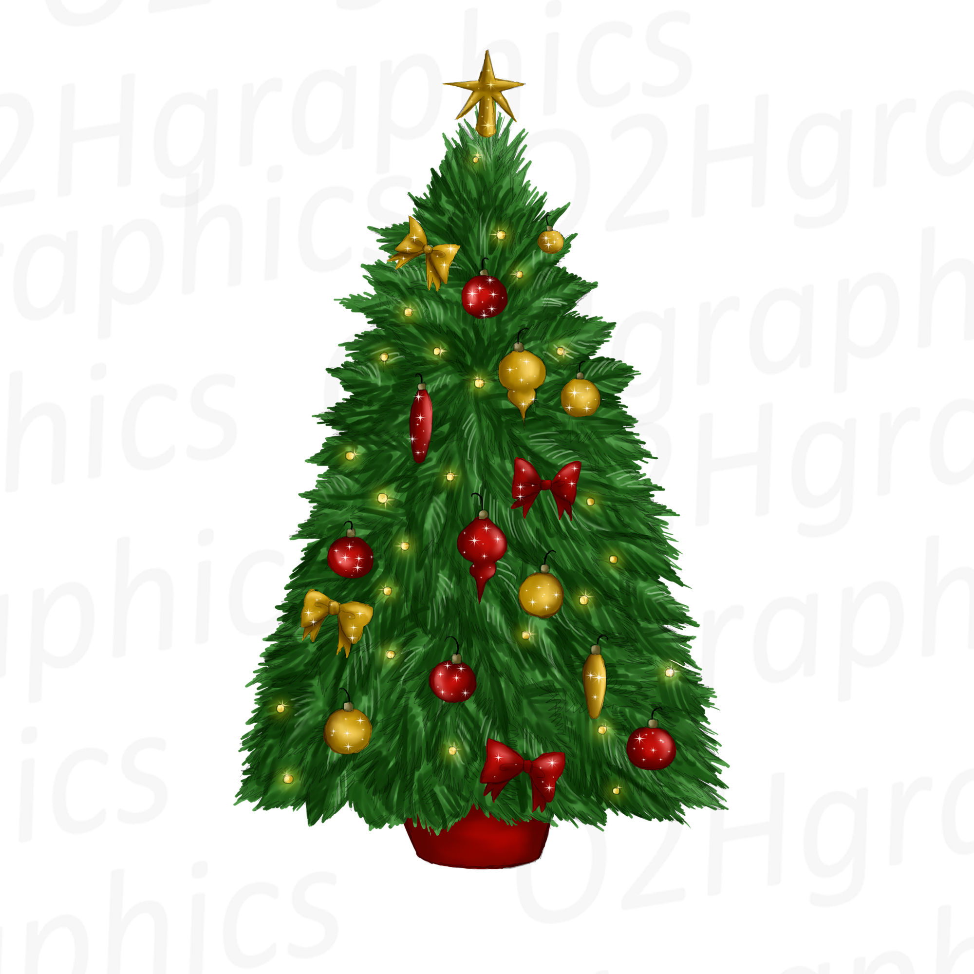 Decorated Christmas Tree Clipart, Sublimation Design, Watercolor Drawing,  Green Pine Tree Clipart, Holiday Clipart, PNG.