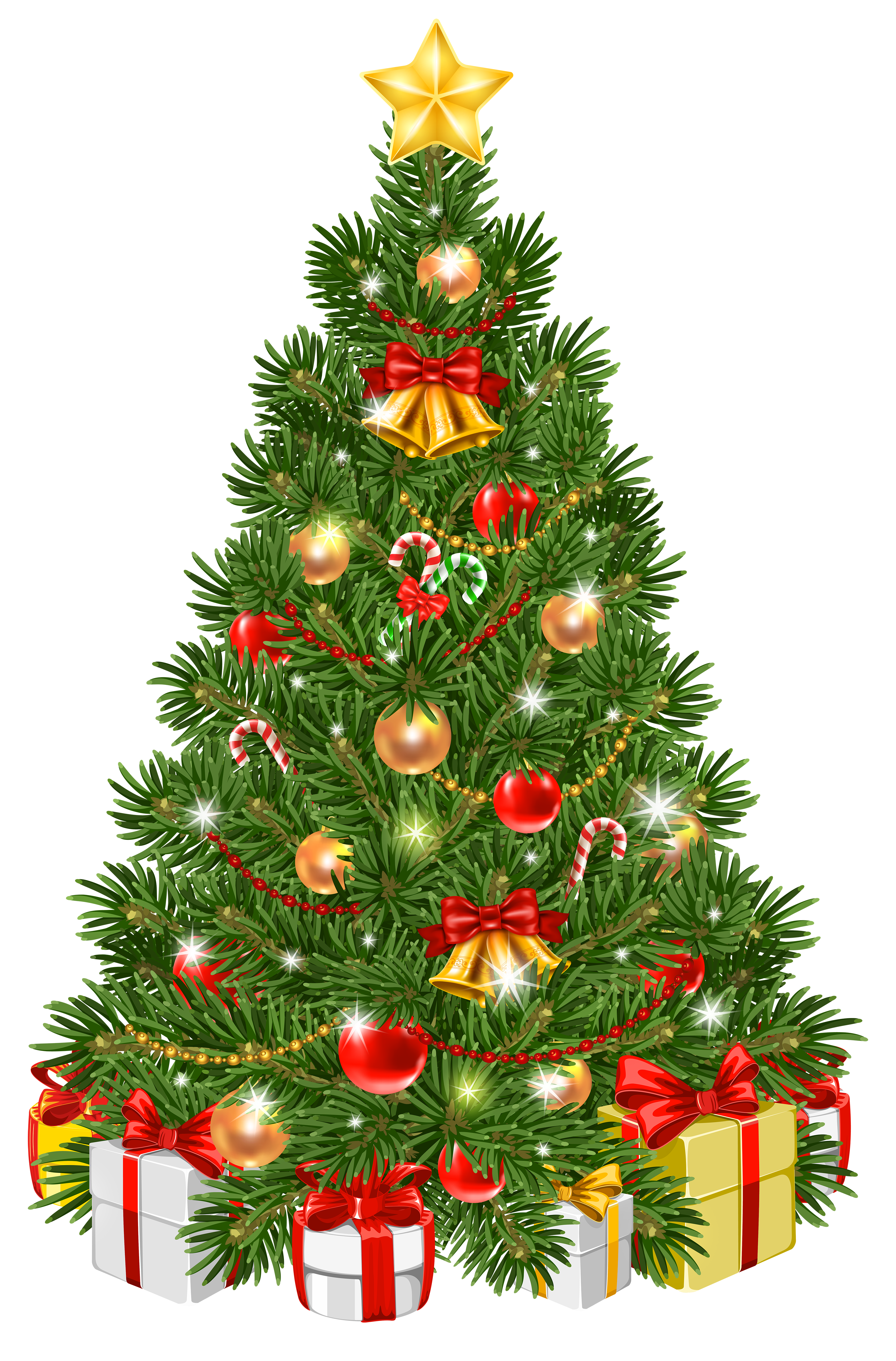 Decorated Christmas Tree Transparent PNG Clip Art Image.