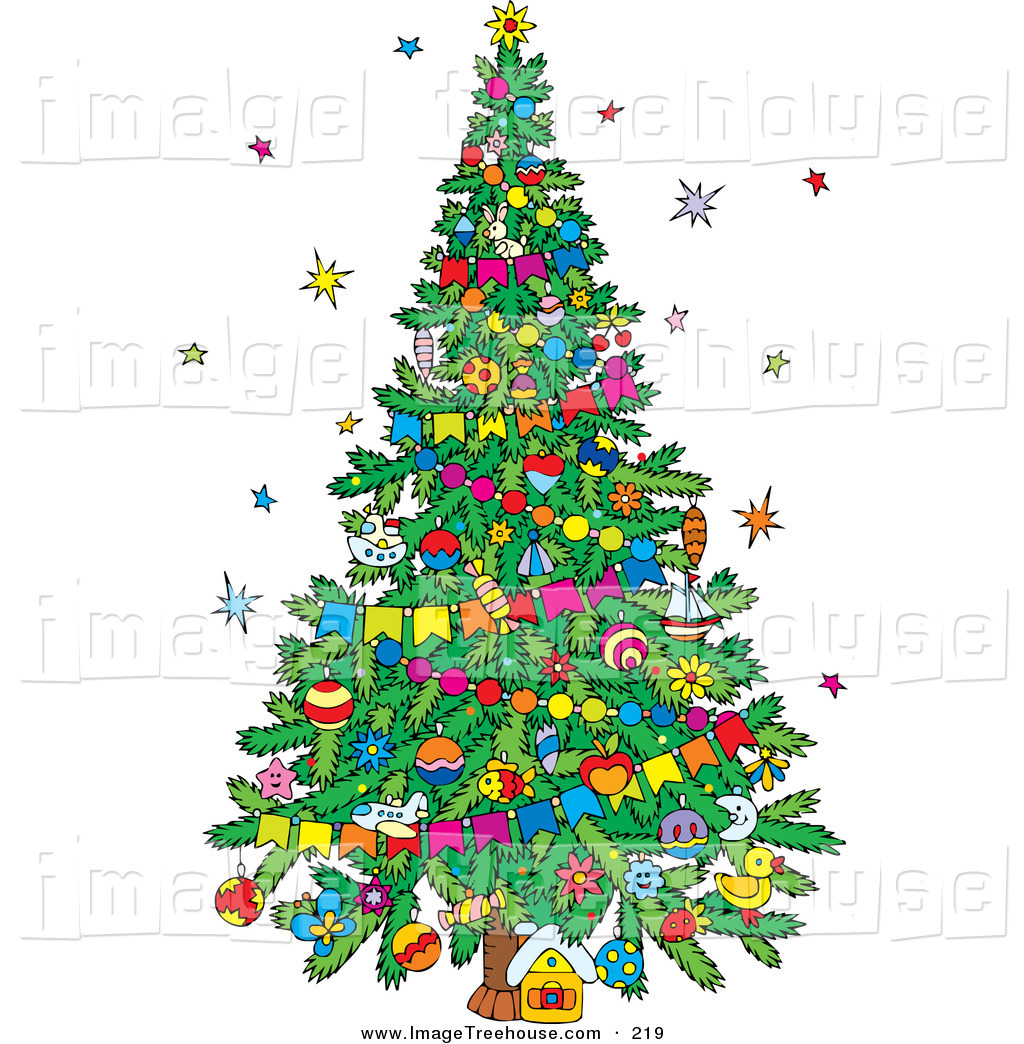 Decorated christmas tree clip art free.