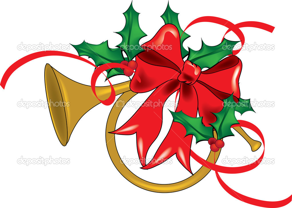 Clip Art Illustration of a French Horn Decorated for Christmas.