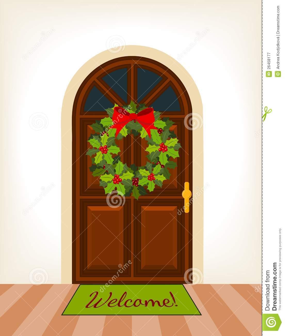 Christmas Front Door Clipart. Christmas Door Front Open Home House.