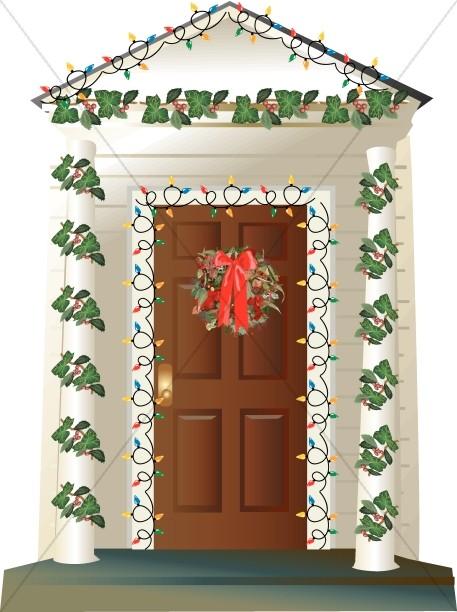 Christmas Front Door Clipart Decorating Ideas 46445 Doors.