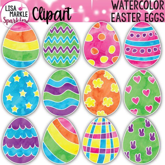 Easter Egg Clipart, Watercolor Easter Clipart.
