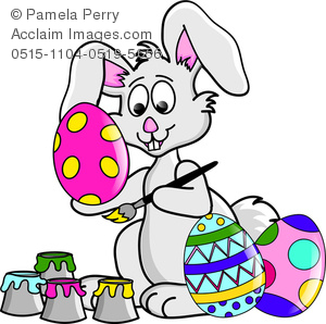 Clip Art Image of a Cute Easter Bunny Painting Easter Eggs.
