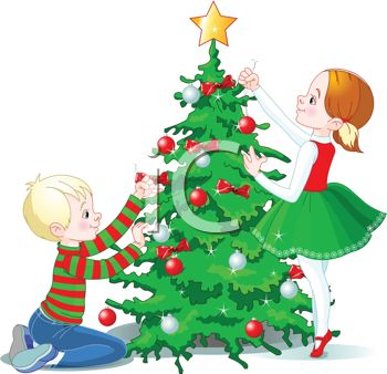 Christmas tree decorating clipart.
