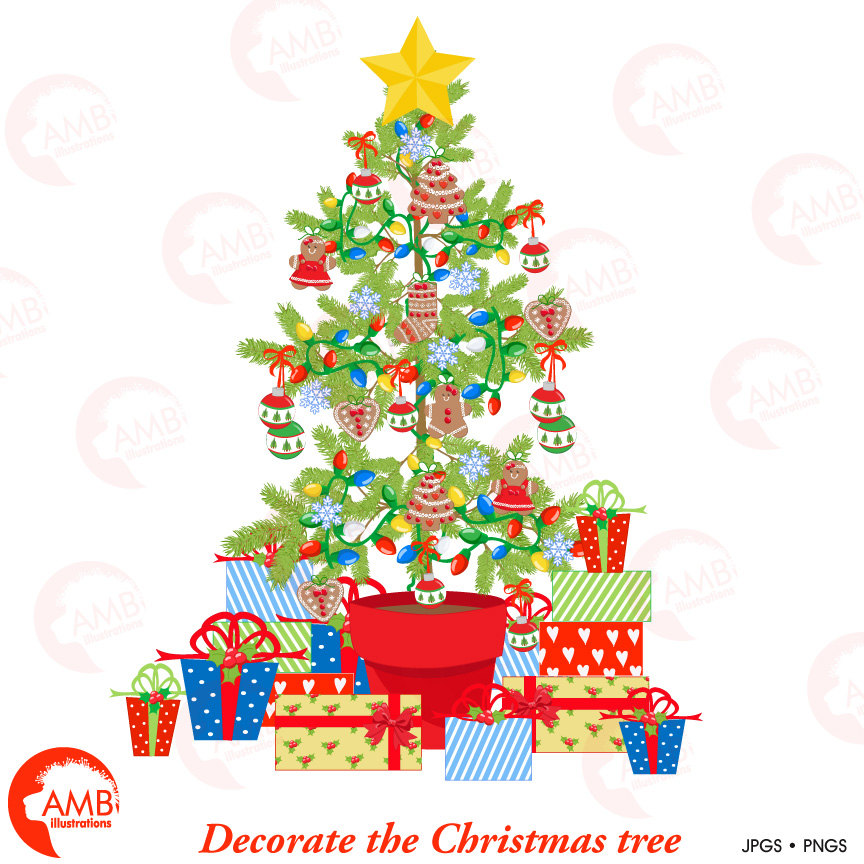 Christmas Tree clipart, DIY Christmas Tree AMB.