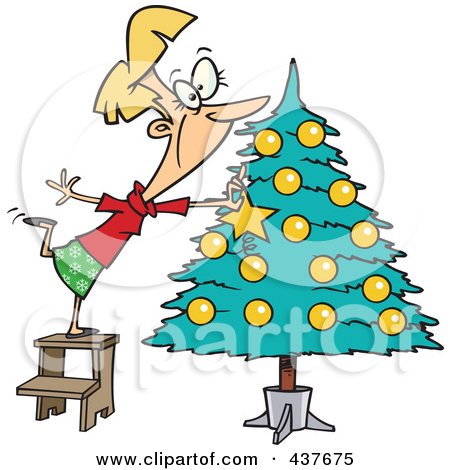 decorating a christmas tree preview clipart