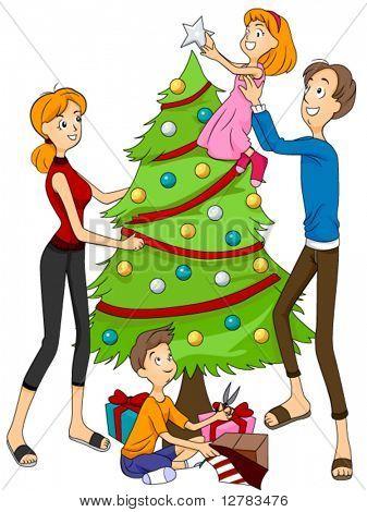 Family Christmas Tree Clipart.