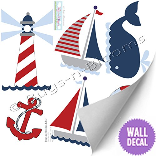 Amazon.com: Nautical Decal Stickers Red White Blue Boy Wall.