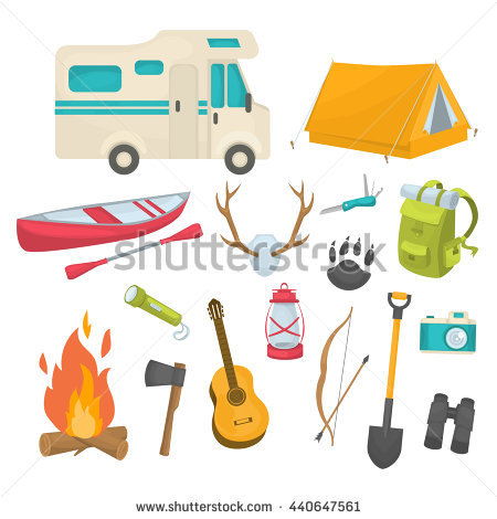 Set Camping Gear Elements Flashlight Marshmallow Stock Vector