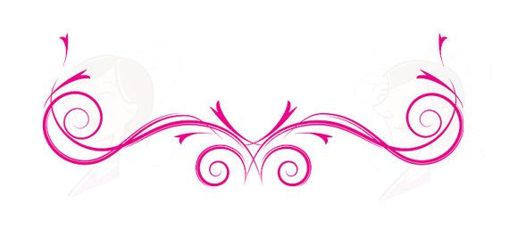 Flourish Swirls Clipart Hot Pink Floral VECTOR Decorative Flower.