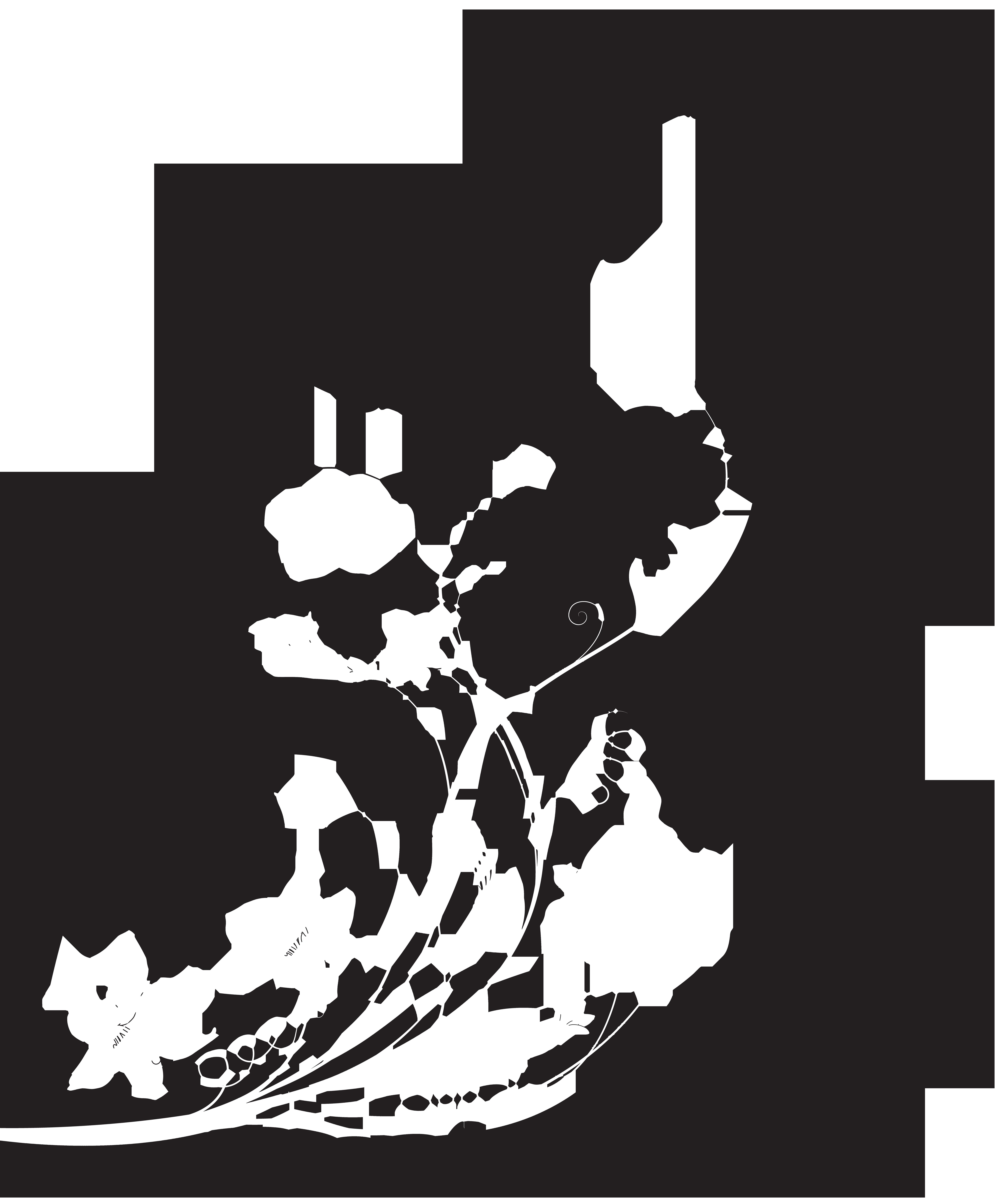 Black White Floral Decoration PNG Clip Art.