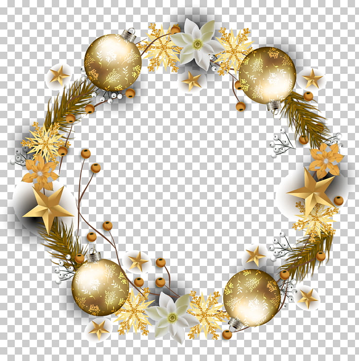 Wreath Computer file, winter holiday decoration golden.