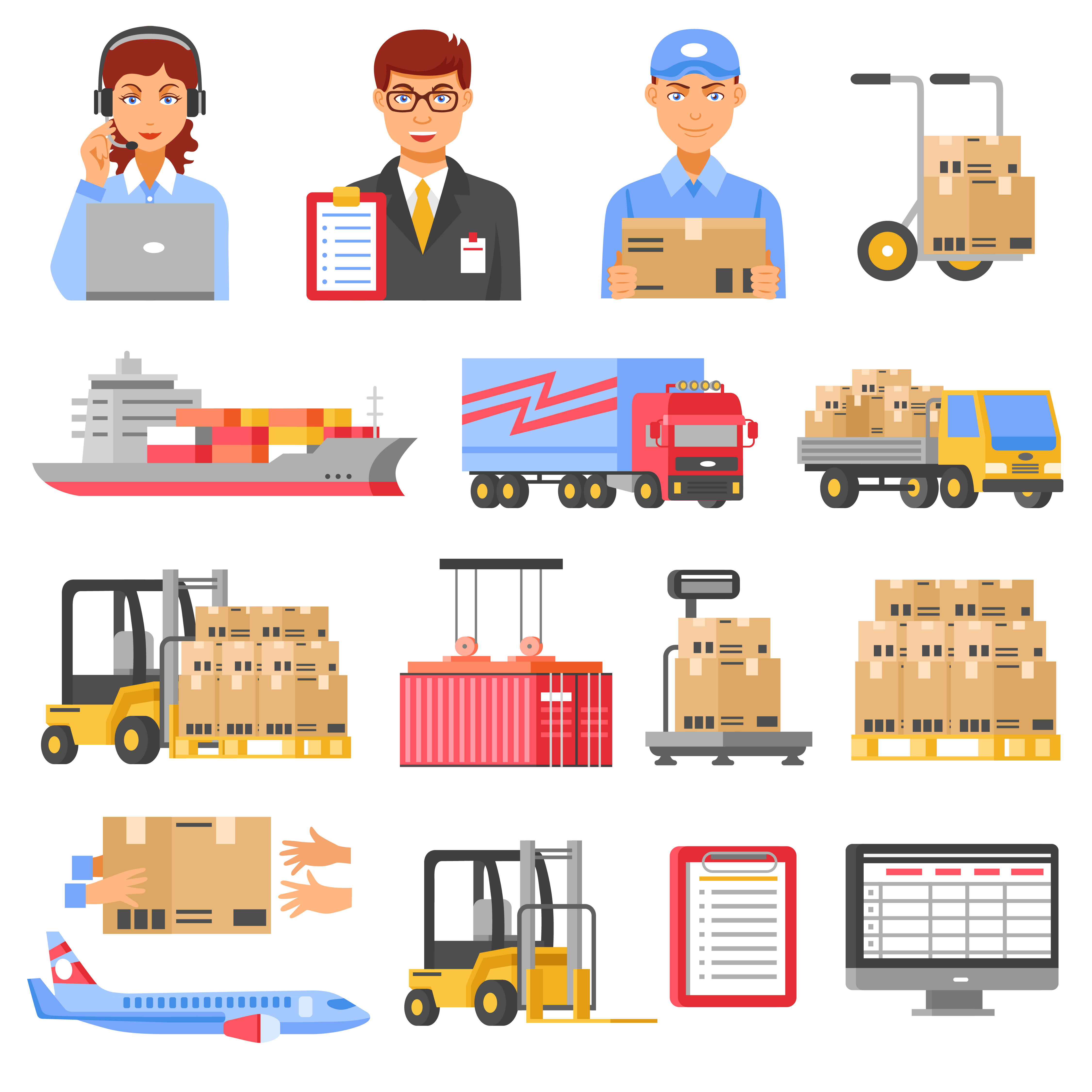 Logistics And Delivery Decorative Icons Set.