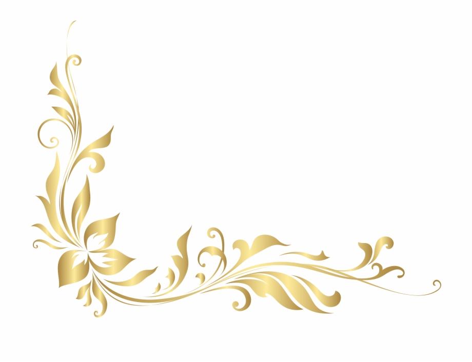 Banner Library Stock Golden Floral Decoration Transparent.