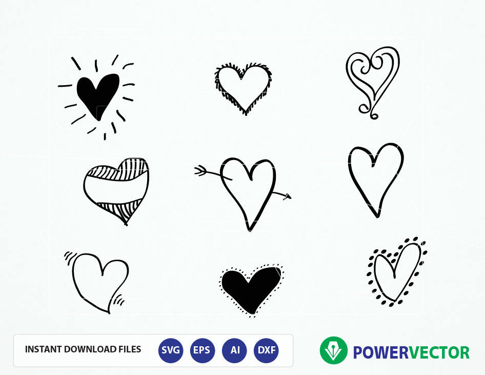 Svg Hand Drawn Hearts. Hearts Cut Files. Heart Png File. Love Heart Svg.  Heart Cameo. Heart Cricut. Heart Decoration. Heart Vector Clip art.
