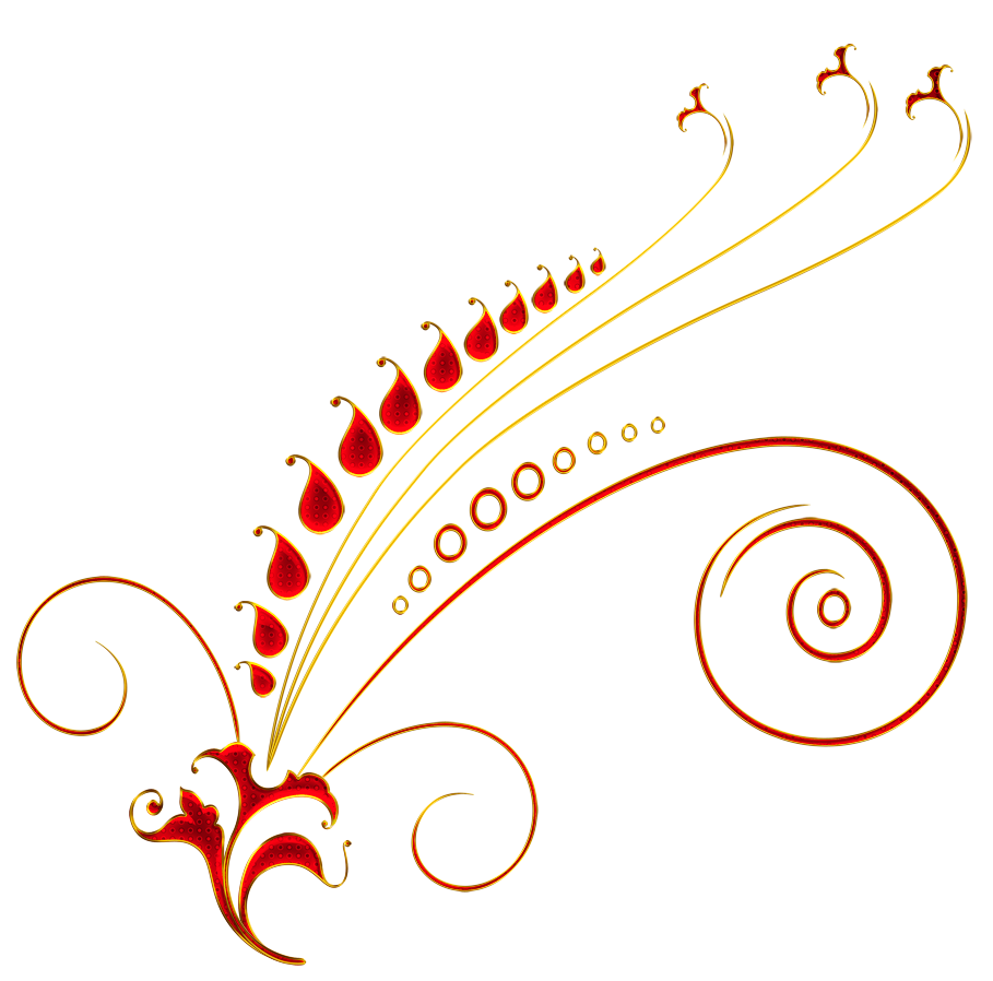 Red and Gold Floral Ornament PNG Picture.