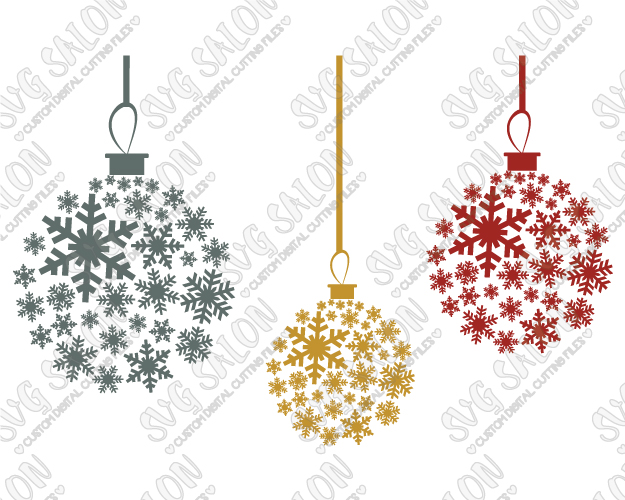 Snowflake Christmas Ornament Cut File Set in SVG, EPS, DXF, JPEG, and PNG.