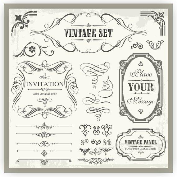 40+ Vector Clipart Ornaments, Scrolls, Panels, Calligraphy.