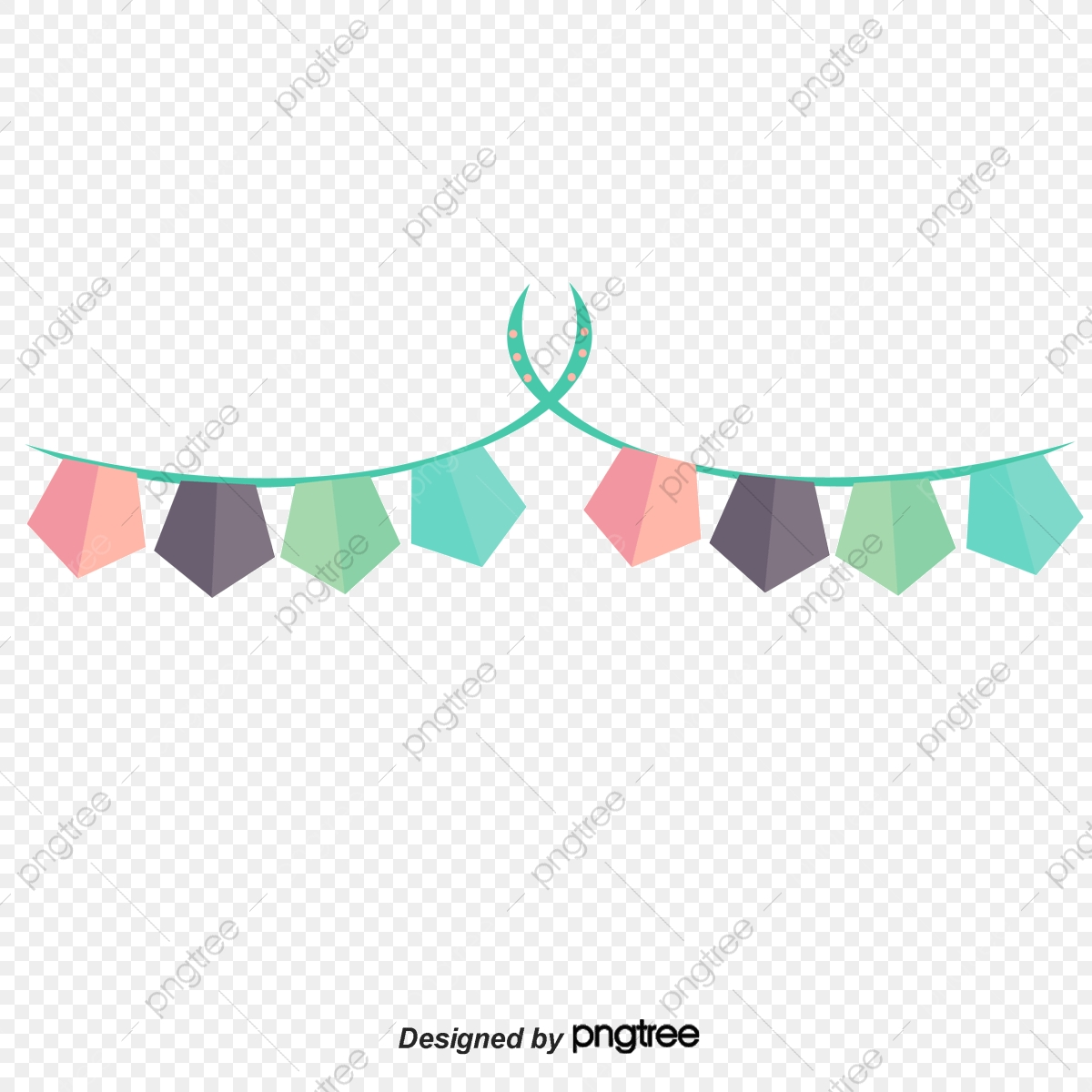 Birthday Party Decoration Hanging Flag Vector Png, Birthday Vector.