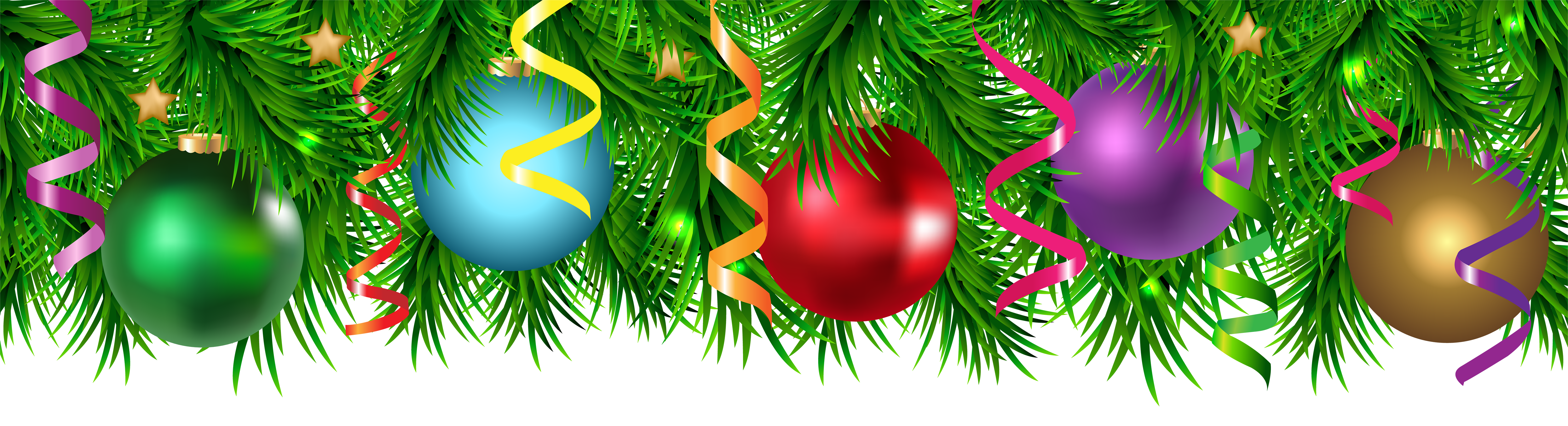 Christmas Pine Decorating Border PNG Clip Art Image.