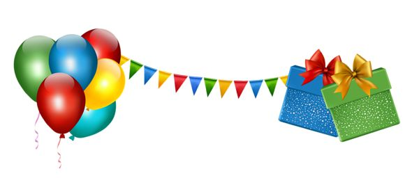Party Decoration with Gifts and Balloons Transparent Clipart.