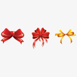 Gold And Red Bows Decorations Png Clipart Picture.