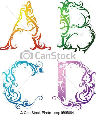 Library of decorative alphabet letters clip art png files.