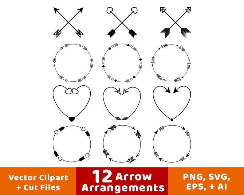 12 Arrows Clipart, Arrow Wreath Clipart, Rustic Arrow Clipart, Crossed  Arrows, Decorative Arrows, Arrow Heart, Arrow SVG, Commercial Use.