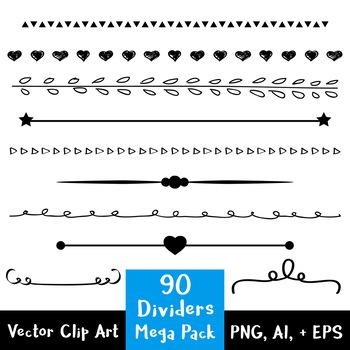 90 Simple Dividers Mega Pack, Flourish Clipart, Border Clip Art, Decorative.