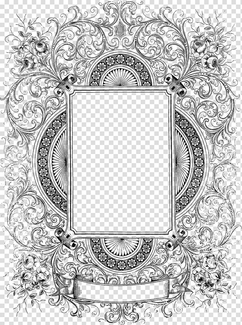 Frame Text Black and white Pattern, Decorative Border Free.