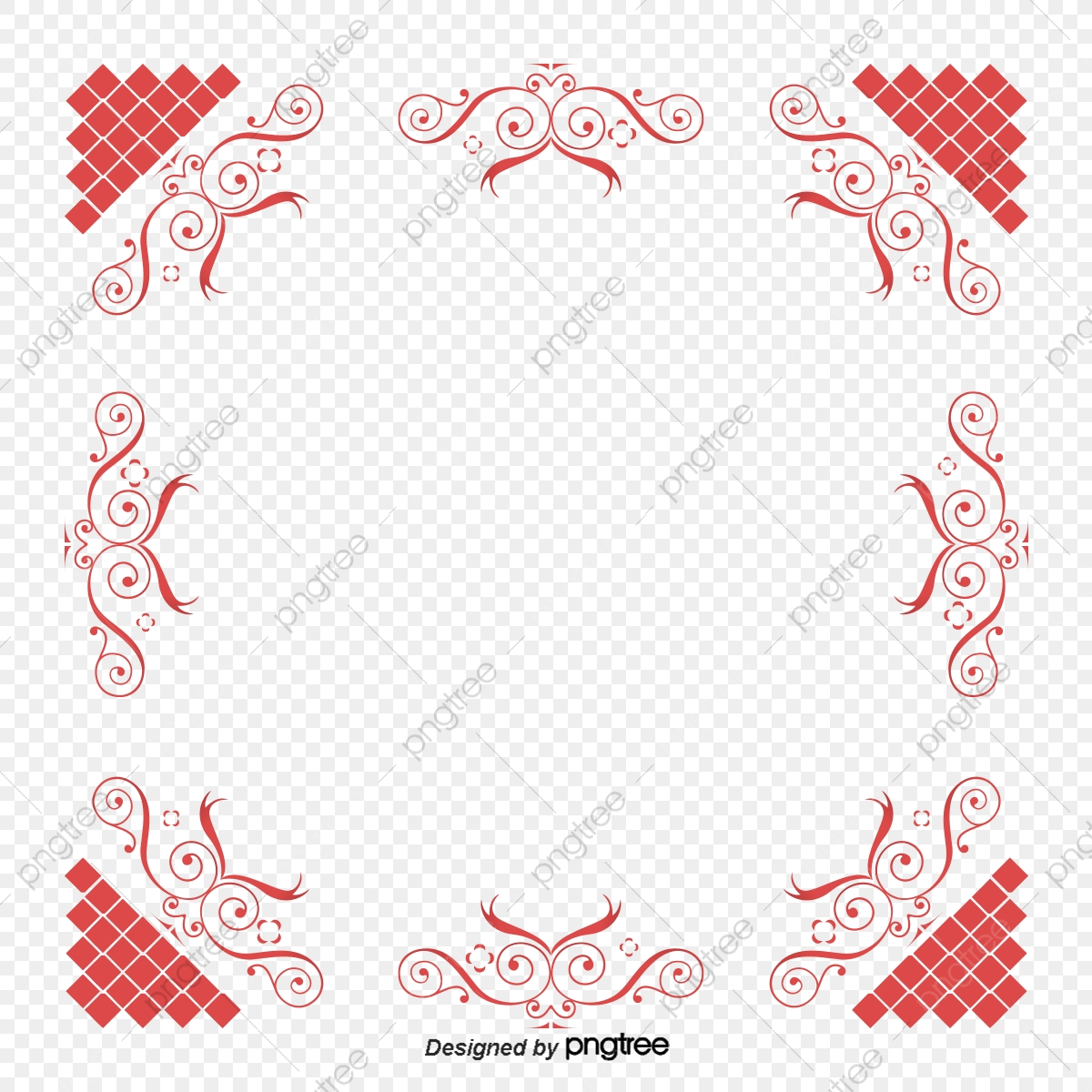 Red Simple Decorative Border Elements, Flower Clipart, Red Border.