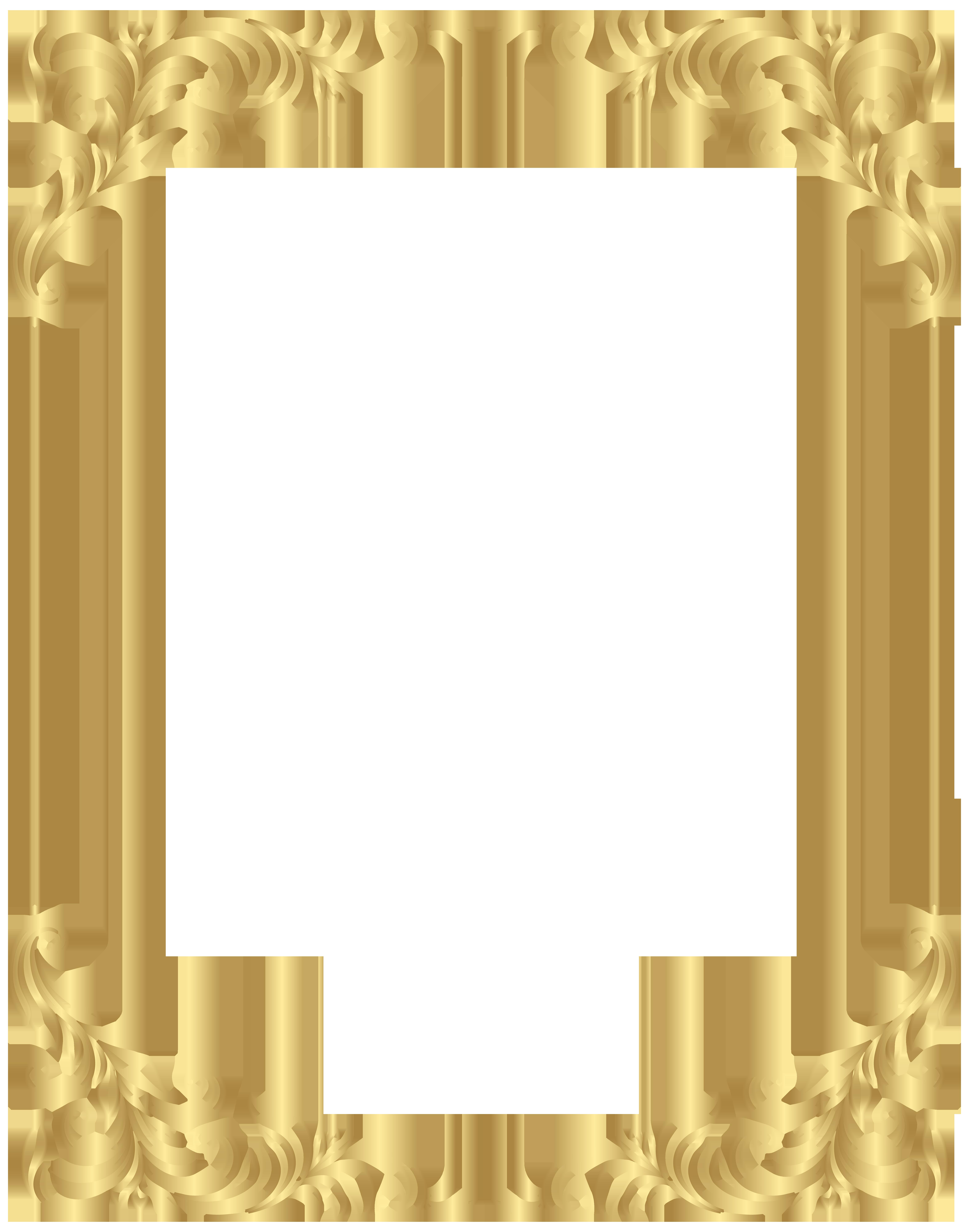 Border Frame Decorative PNG Gold Clip Art.