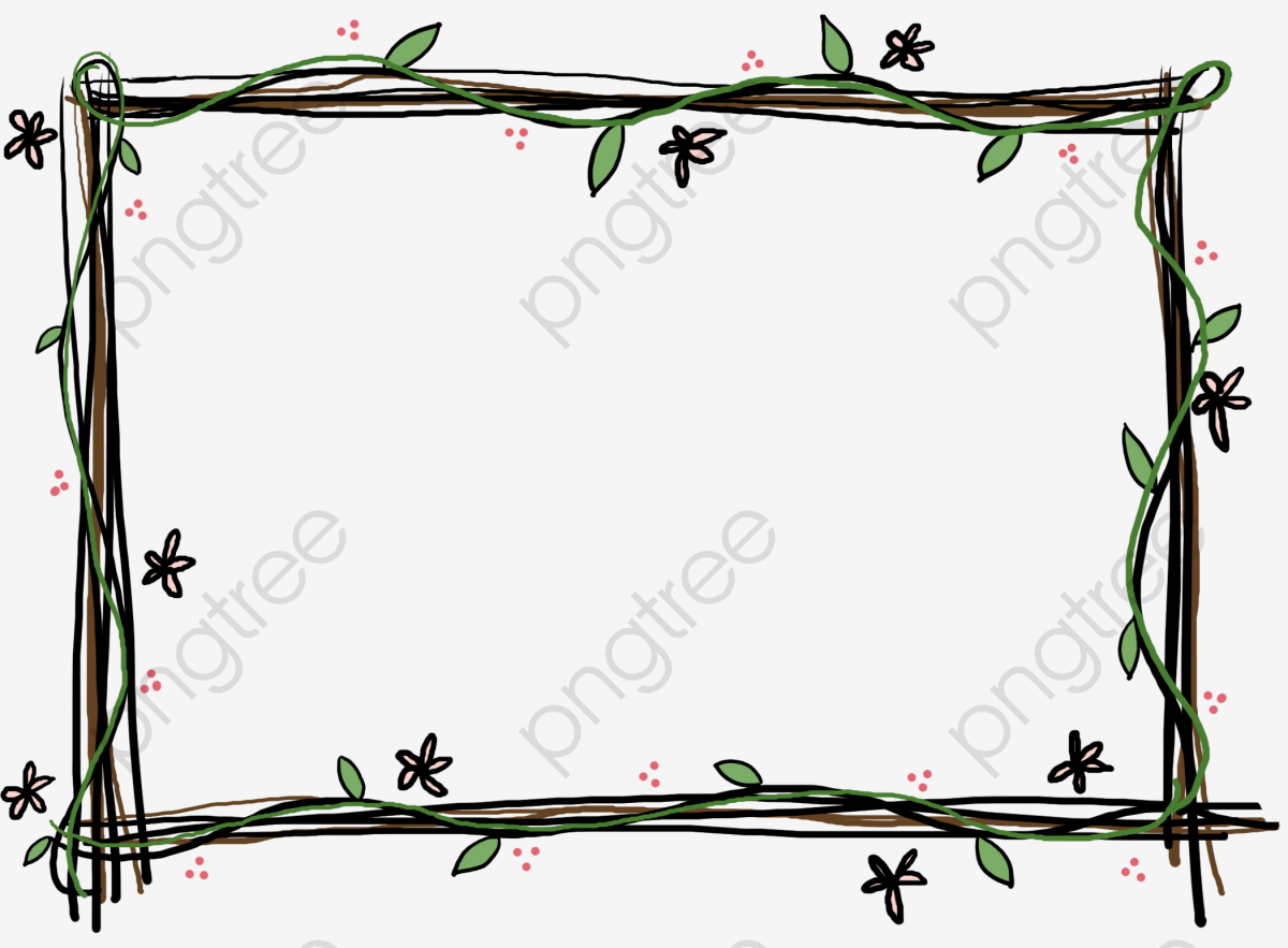 Sketch Cartoon Photo Picture Frame Flowers And Decorative Borders.