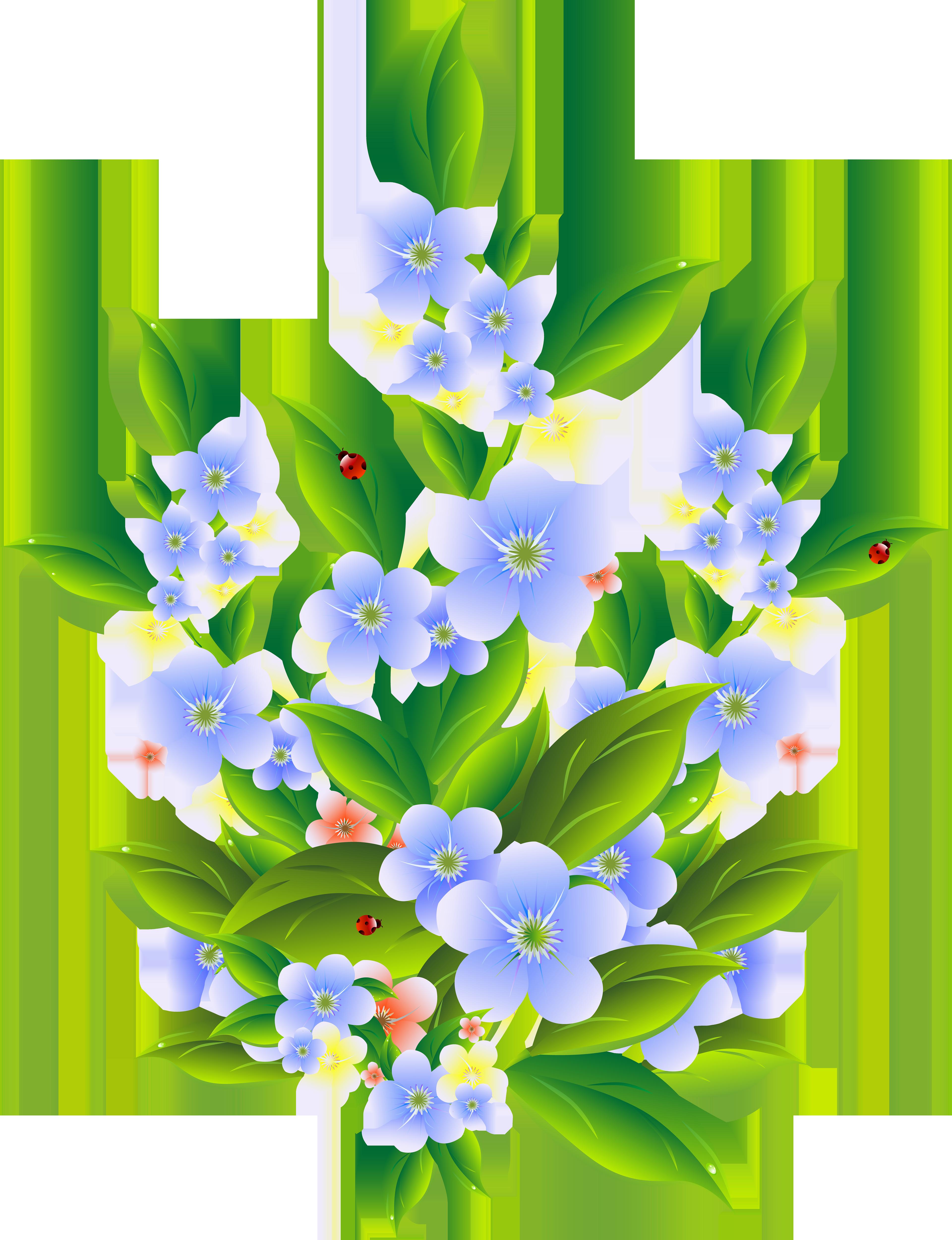 Floral Bush Decoration Transparent Clip Art PNG Image.