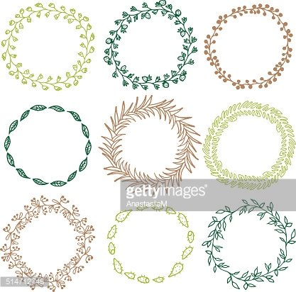 Set of decorative circle frames. Clipart Image.