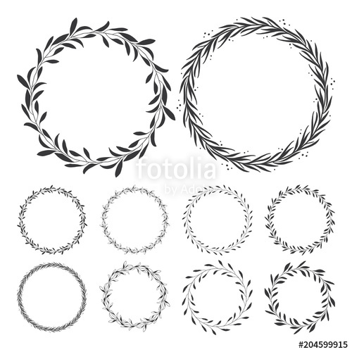 vector floral wreaths, hand drawn wreath clip art, round frame with.