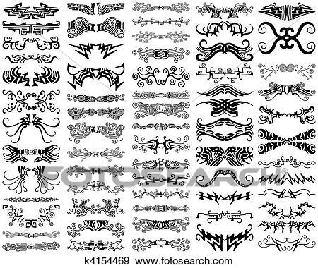 Unique Ornamental Decorative Vector Design Elements Collection Clip Art.