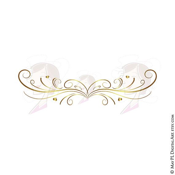 Page Border Gold Swirls Clipart.