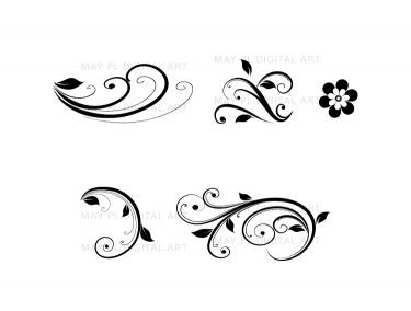 Flourish Clip Art Vintage Flower Clipart Designs for DIY Wedding.