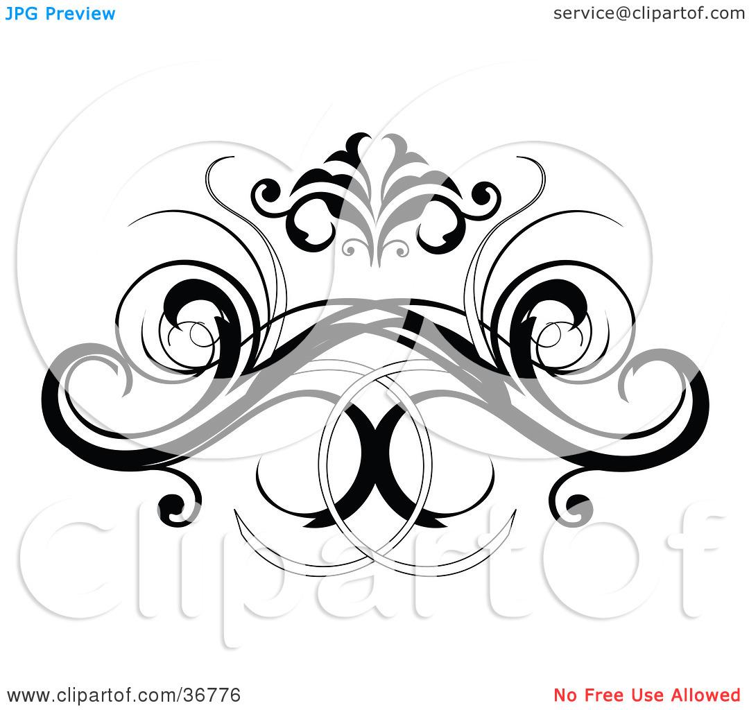 Clipart Illustration of a Black Decorative Design Element Or Back.